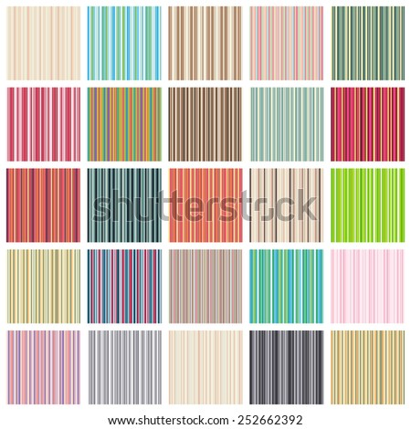 Striped seamless texture set. Vector lines pattern big collection. Plaid fabric background. Unusual colorful ornament.