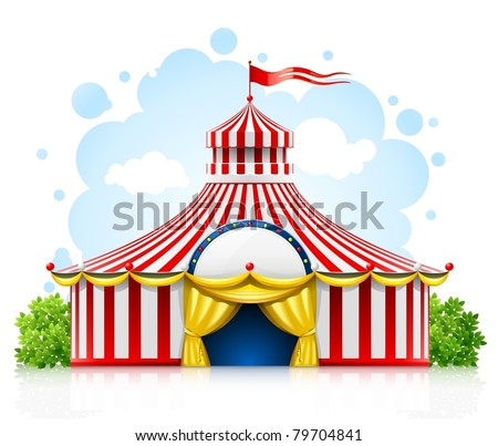 striped strolling circus marquee tent with flag vector illustration isolated on white background - stock vector