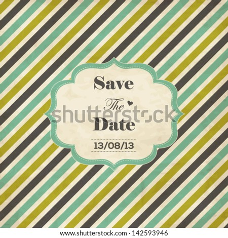 Striped wedding invitation card with frame, date and heart - stock vector
