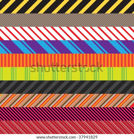 Stripes patterns in an assortment of colors and styles.  Easily use these to create seamless backgrounds or use them in other elements. - stock vector