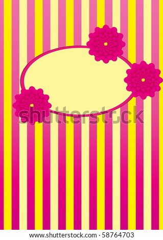 Stripped background with flowers and frame for text, vector illustration