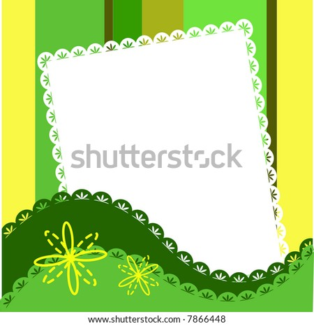 Stripped border for picture with flower,vector - stock vector