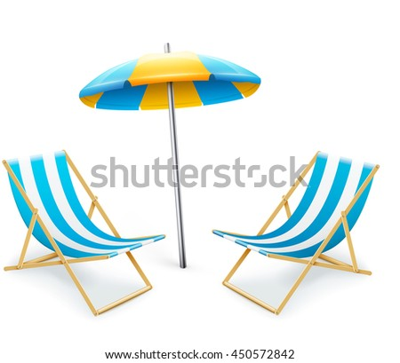 stripped deck-chair with umbrella beach inventory. isolated on white background. eps10 vector illustration