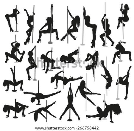 Striptease silhouettes - stock vector