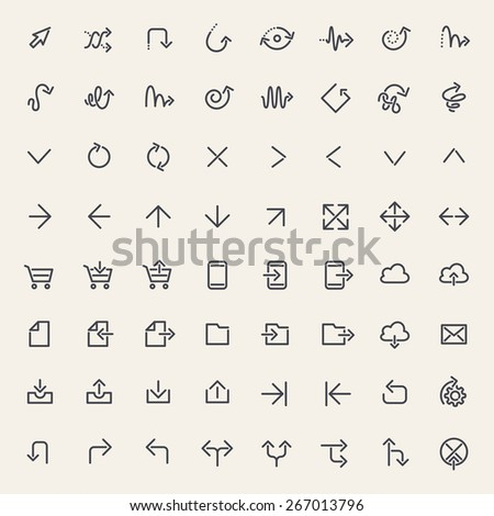 Stroke Arrow Icons Set Black. Isolated on White Background. - stock vector