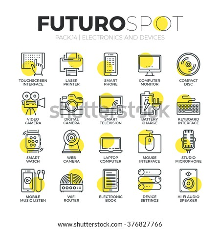 Stroke line icons set of computer electronics and home multimedia devices. Modern flat linear pictogram concept. Premium quality outline symbol collection. Simple vector material design, web graphics. - stock vector