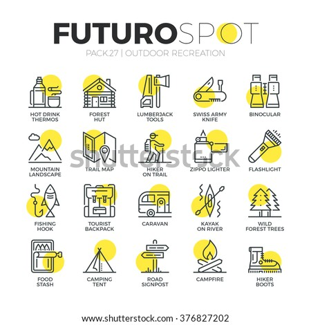 Stroke line icons set of survival tourism recreation, outdoor camping . Modern flat linear pictogram concept. Premium quality outline symbol collection. Simple vector material design of web graphics. - stock vector