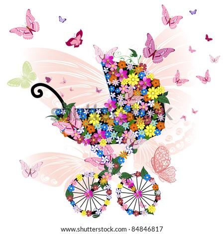 Stroller of flowers and butterflies - stock vector