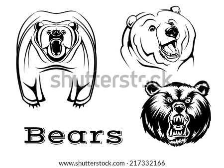 Strong angry grizzly bears characters isolated on white for tattoo, wildlife and mascot design - stock vector