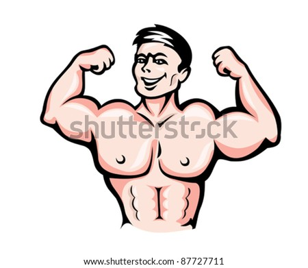 Strong athlete with muscles in cartoon style for sports design. Rasterized version also available in gallery - stock vector