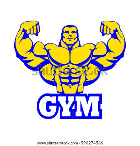 Strong Bodybuilder Huge Biceps Gym Logo Design. Yellow Body, White Letters, Blue Contour Outline. Vector EPS 10.