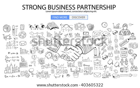 Strong Business Partnership concept wih Doodle design style :finding solution, brainstorming, creative thinking. Modern style illustration for web banners, brochure and flyers. - stock vector