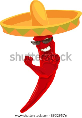 strong chili in sombrero shows tattoo on it shoulder - stock vector