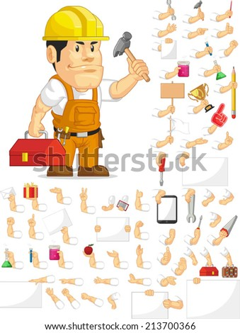 Strong Construction Worker Customizable Mascot Set - stock vector