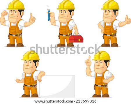 Strong Construction Worker Mascot 5 - stock vector