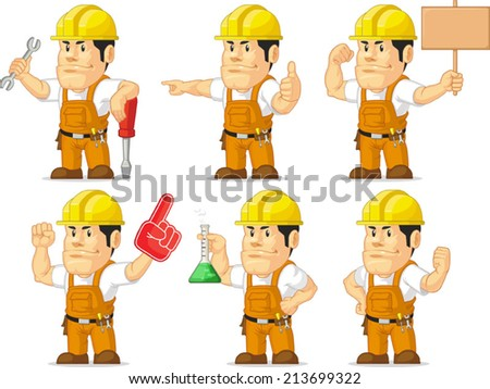 Strong Construction Worker Mascot 6 - stock vector