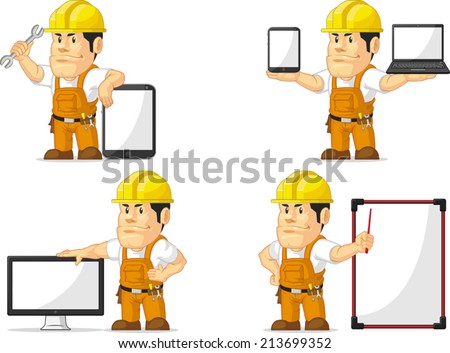 Strong Construction Worker Mascot 12 - stock vector