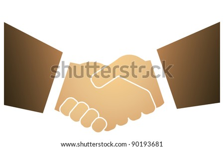 strong handshake mans in business suits isolated - stock vector