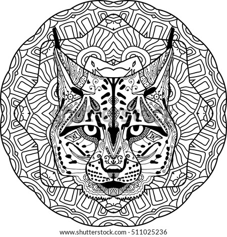 strong lynx bobcat is drawn by hand with ink with ethnic patterns zendoodle
