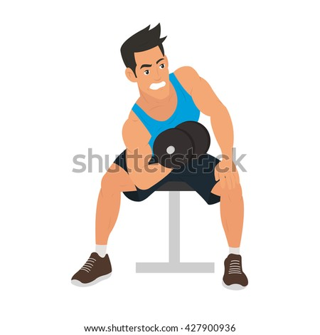 strong man doing exercise for biceps. vector. Male sportsman concept of healthy lifestyle and strong sportsman. sportsman with a dumbbell. sportsman raises a lot of weight. strong sportsman. - stock vector