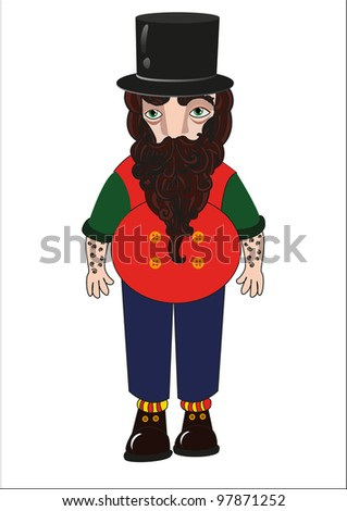 strong man in a hat with a long beard - stock vector