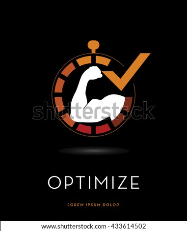 STRONG MAN'S BICEPS SILHOUETTE , INSIDE A STOPWATCH INCORPORATED WITH A CHECK MARK , VECTOR LOGO / ICON , ISOLATED ON BLACK BACKGROUND - stock vector