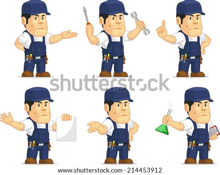 Strong Mechanic Mascot 10 - stock vector