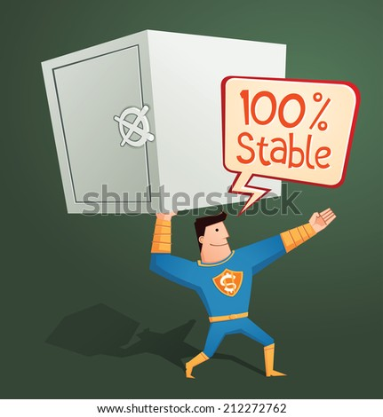 strong retro superhero guarding a deposit box and get a pose - stock vector