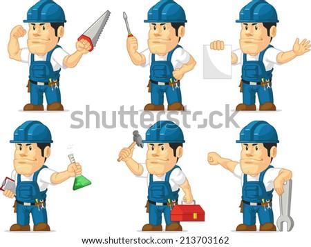 Strong Technician Mascot 2 - stock vector