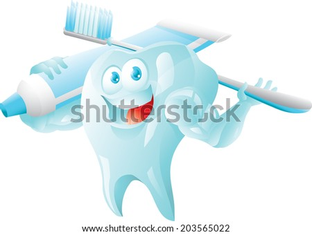 Strong tooth with toothbrush and toothpaste isolated - stock vector
