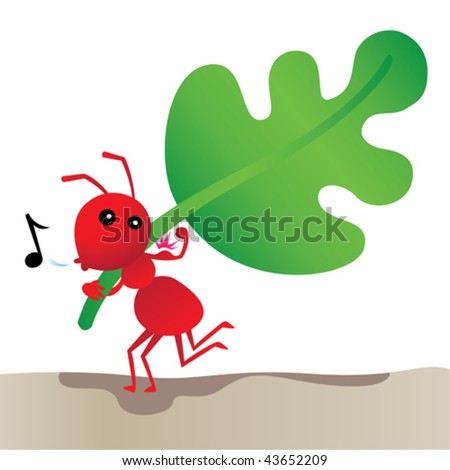 Strong. Vector illustration of a red ant lifting a big leaf. - stock vector