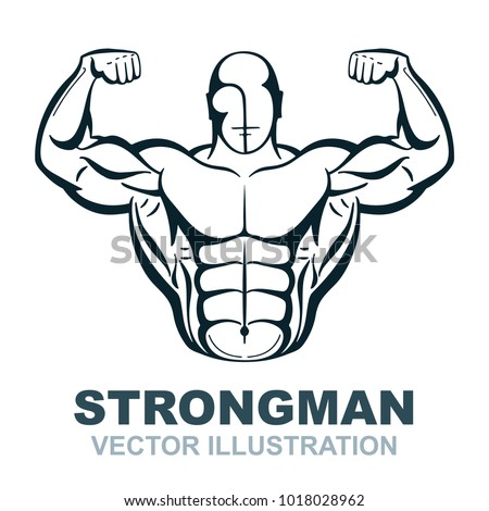 Strongman hand drawn illustration. Bodybuilder silhouette. Gum logo template. Isolated vector.