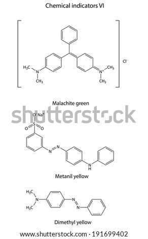 Structural formulas of chemical indicators (malachite green, metanil yellow, dimethyl yellow), 2D illustration, vector, isolated on white background