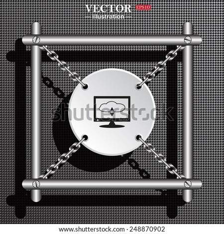 Structural gray background with shadow. White circle with chains in a metal frame. cloud storage on the computer, vector illustration, EPS 10 - stock vector