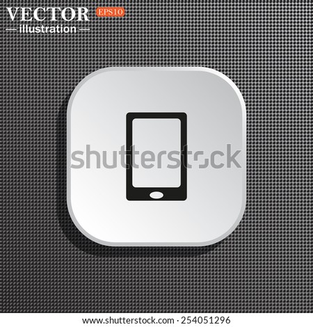 Structural gray background with shadow, white square. Smartphone, phone, mobile phone , vector illustration, EPS 10 - stock vector