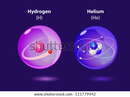 structure atom Helium and Hydrogen. Vector - stock vector