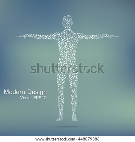 Structure molecule of man. Abstract model human body of DNA . Medicine, science and technology. Scientific Vector for your design. - stock vector