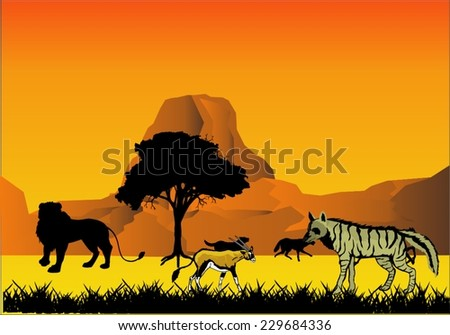 Stryped hyena.antilopes and lion silhouette - stock vector