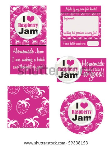 Stuck for a label for your newly made jam?  Grab yourself a contemporary look for that jar.  Make your own Gift tags using these vector patterns. - stock vector