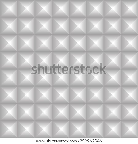 Studded background. Pointed, pyramidal shapes pattern. Seamlessly repeatable. Grayscale, monochrome version. - stock vector