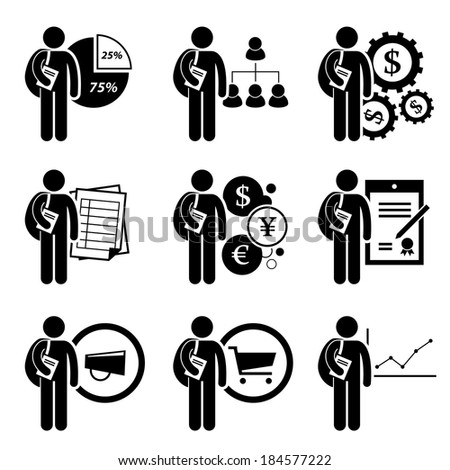 Student Degree in Business Management Stick Figure Pictogram Icon - stock vector