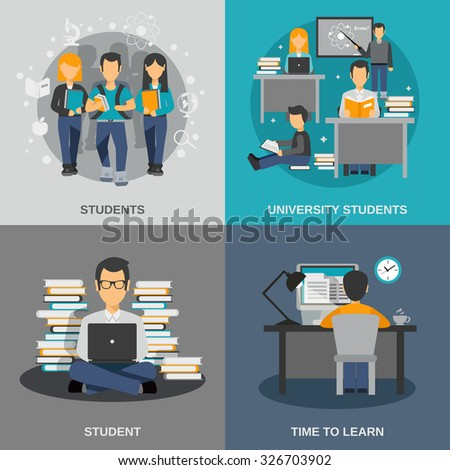 Student design concept set with flat university studying icons isolated vector illustration - stock vector