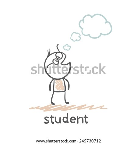 student dreams illustration - stock vector