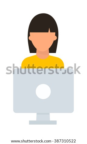 Student girl computer vector illustration. Student girl computer isolated on white background. Student girl computer vector icon illustration. Student girl computer isolated vector. Student girl - stock vector