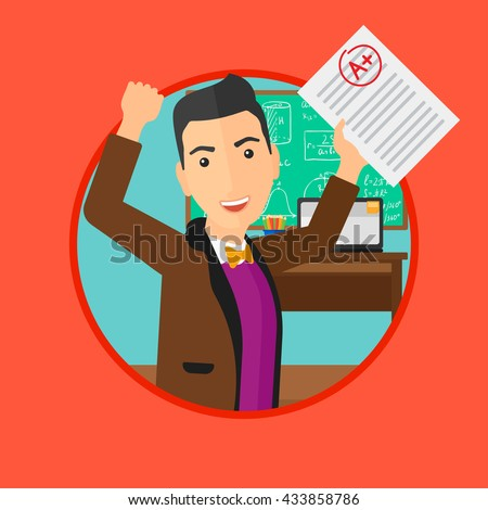 Student holding a sheet with the highest mark. Student showing test with A grade in the classroom. Student received best mark. Vector flat design illustration in the circle isolated on background.