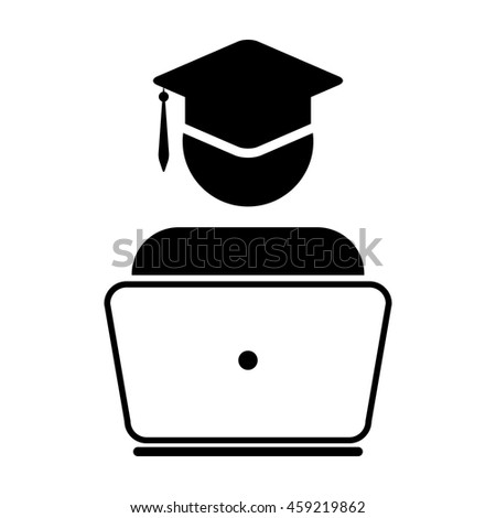 Student Icon - Laptop, Computer, Graduation, Academic Glyph Vector illustration