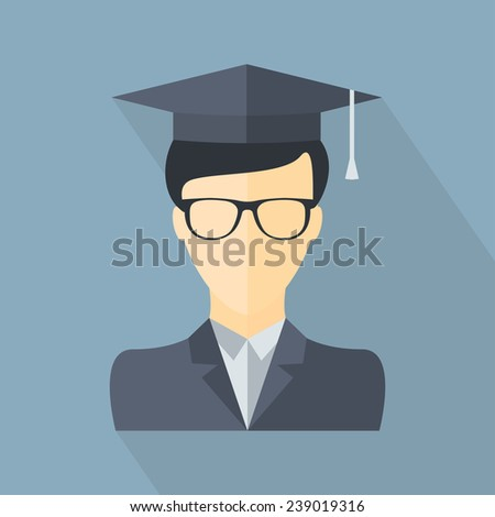 Student icon. School, college, university, graduation icon. Flat vector design - stock vector