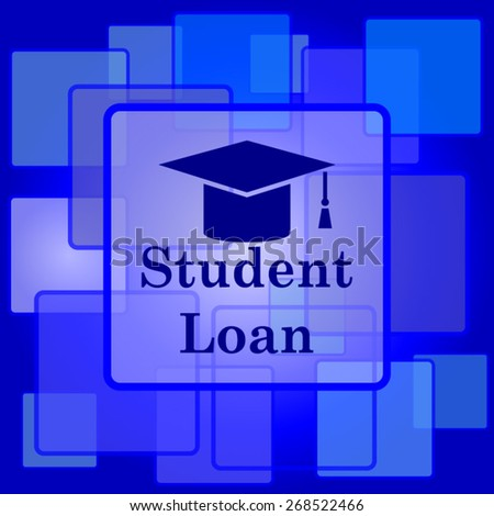 Student loan icon. Internet button on abstract background.