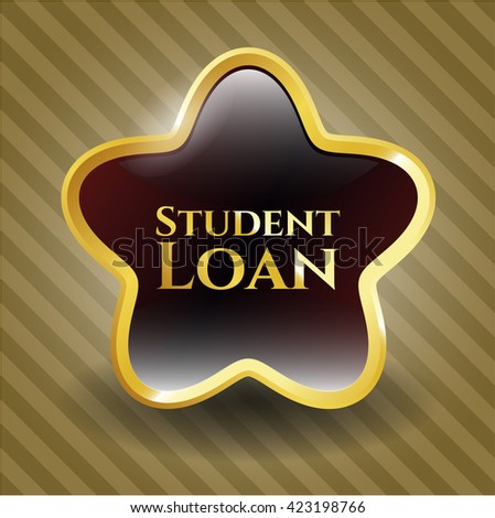 Student Loan shiny badge - stock vector