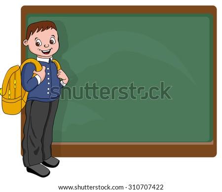 student near blackboard cartoon - stock vector